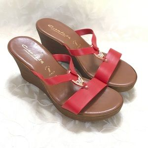 🆕 Contesa Wedge Sandals Red ACORN size 10 NEW